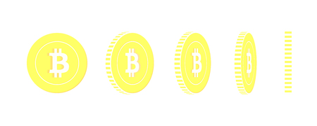 Bitcoin, internet currency rotating coins set, animation ready. Yellow BTC gold coins rotation. Cryptocurrency, digital metal money. Shapely cartoon vector illustration.