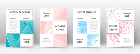 Cover page design template. Business brochure layout. Bewitching trendy abstract cover page. Pink and blue grunge texture background. Fabulous poster. 向量圖像