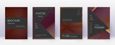 Black brochure design template set. Gold abstract lines on bordo background. Actual brochure design. Extraordinary catalog, poster, book template etc. Illusztráció