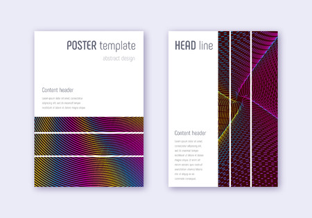 Geometric cover design template set. Rainbow abstract lines on wine red background. Bizarre cover design. Ecstatic catalog, poster, book template etc. Çizim