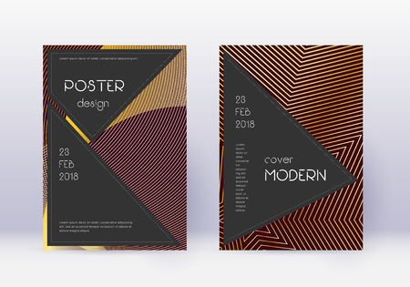 Black cover design template set. Gold abstract lines on maroon background. Actual cover design. Positive catalog, poster, book template etc. Çizim