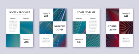 Business brochure design template set. Red abstract lines on white blue background. Alive brochure design. Bold catalog, poster, book template etc. Çizim