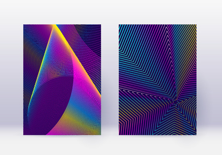 Cover design template set. Abstract lines modern brochure layout. Rainbow vibrant halftone gradients on dark blue background. Precious brochure, catalog, poster, book etc. Çizim