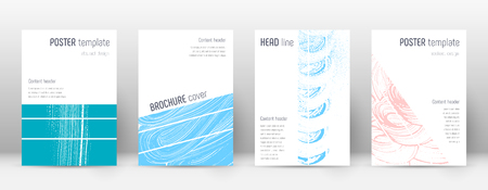 Cover page design template. Geometric brochure layout. Bold trendy abstract cover page. Pink and blue grunge texture background. Energetic poster.