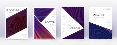 Triangle brochure design template set. Violet abstract lines on dark background. Brilliant brochure design. Appealing catalog, poster, book template etc. Vector Illustratie