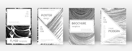 Cover page design template. Stylish brochure layout. Creative trendy abstract cover page. Black and white grunge texture background. Fetching poster.