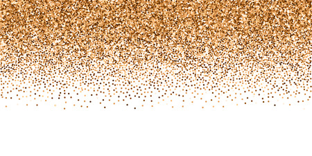 Red round gold glitter luxury sparkling confetti. Scattered small gold particles on white background. Breathtaking festive overlay template. Indelible vector illustration.