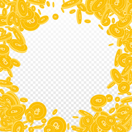 Russian ruble coins falling. Scattered floating RUB coins on transparent background. Fantastic round random frame vector illustration. Jackpot or success concept.