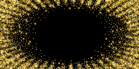 Sparkling gold luxury sparkling confetti. Scattered small gold particles on black background. Alluring festive overlay template. Modern vector illustration.