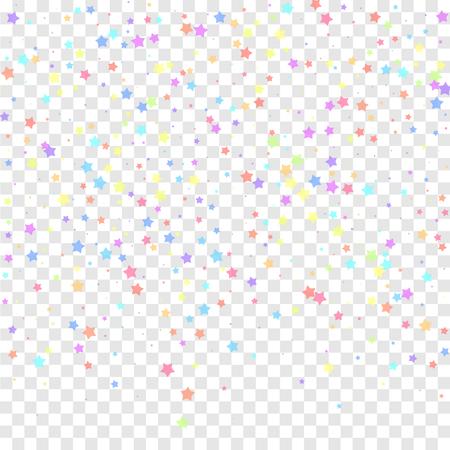 Festive confetti. Celebration stars. Colorful stars random on transparent background. Classy festive overlay template. Amusing vector illustration.