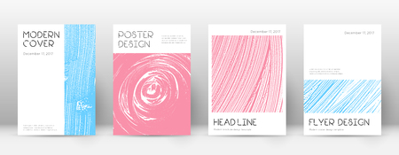 Cover page design template. Minimal brochure layout. Charming trendy abstract cover page. Pink and blue grunge texture background. Delicate poster. 向量圖像