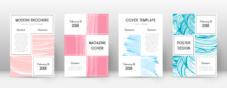 Cover page design template. Business brochure layout. Beautiful trendy abstract cover page. Pink and blue grunge texture background. Symmetrical poster. 向量圖像
