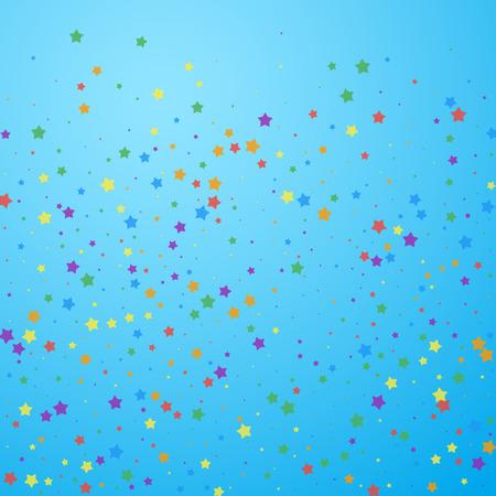 Festive confetti. Celebration stars. Joyous stars on blue sky background. Classy festive overlay template. Pretty vector illustration.