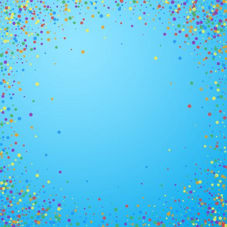 Festive confetti. Celebration stars. Joyous confetti on blue sky background. Cool festive overlay template. Optimal vector illustration. Vettoriali