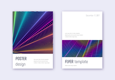 Minimalistic cover design template set. Rainbow abstract lines on dark blue background. Elegant cover design. Splendid catalog, poster, book template etc.
