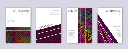 Geometric brochure design template set. Rainbow abstract lines on wine red background. Alluring brochure design. Overwhelming catalog, poster, book template etc.