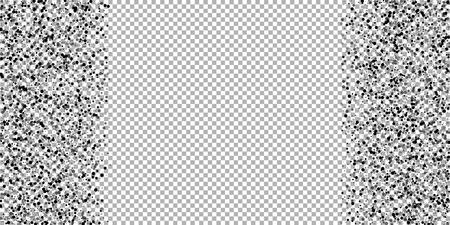 Scattered dense balck dots. Dark points dispersion on transparent background. Bold grey spots dispersing overlay template. Bizarre vector illustration. Ilustrace