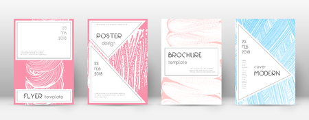 Cover page design template. Stylish brochure layout. Charming trendy abstract cover page. Pink and blue grunge texture background. Delightful poster.