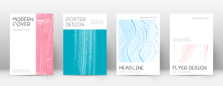 Cover page design template. Minimal brochure layout. Classic trendy abstract cover page. Pink and blue grunge texture background. Dazzling poster.