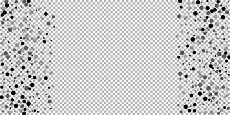 Scattered random black dots. Dark points dispersion on transparent background. Bold grey spots dispersing overlay template. Captivating vector illustration.