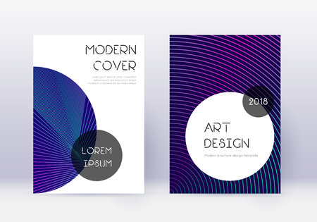 Trendy cover design template set. Neon abstract lines on dark blue background. Gorgeous cover design. Worthy catalog, poster, book template etc.