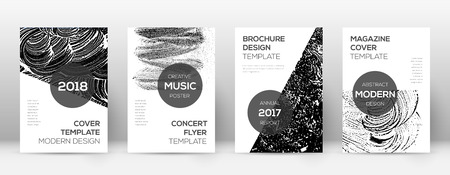 Cover page design template. Modern brochure layout. Comely trendy abstract cover page. Black and white grunge texture background. Magnificent poster.