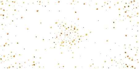 Sparse gold confetti luxury sparkling confetti. Scattered small gold particles on white background. Attractive festive overlay template. Elegant vector illustration.
