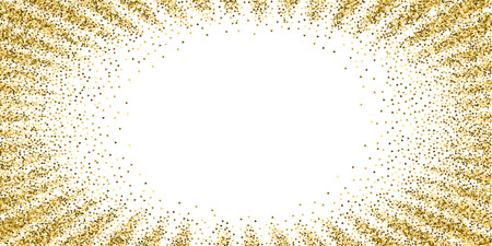 Gold triangles glitter luxury sparkling confetti. Scattered small gold particles on white background. Extraordinary festive overlay template. Rare vector illustration.