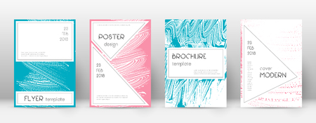 Cover page design template. Stylish brochure layout. Charming trendy abstract cover page. Pink and blue grunge texture background. Good-looking poster.