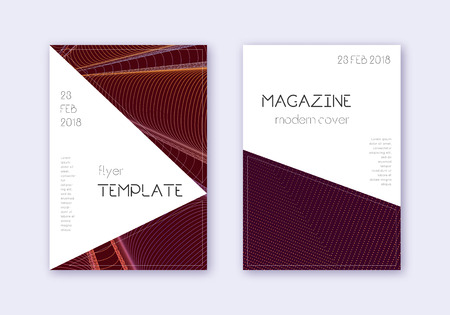Triangle cover design template set. Orange abstract lines on wine red background. Incredible cover design. Impressive catalog, poster, book template etc.