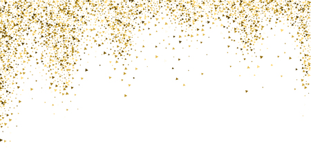 Gold triangles luxury sparkling confetti. Scattered small gold particles on white background. Bizarre festive overlay template. Popular vector illustration.