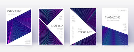 Triangle brochure design template set. Neon abstract lines on dark blue background. Breathtaking brochure design. Bold catalog, poster, book template etc.  イラスト・ベクター素材