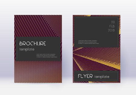 Black cover design template set. Gold abstract lines on maroon background. Alluring cover design. Elegant catalog, poster, book template etc.