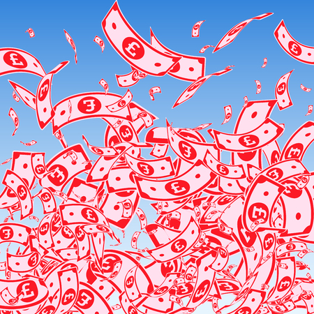 British pound notes falling. Messy GBP bills on blue sky background. United Kingdom money. Attractive vector illustration. Enchanting jackpot, wealth or success concept.