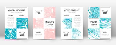 Cover page design template. Business brochure layout. Bewitching trendy abstract cover page. Pink and blue grunge texture background. Sublime poster.