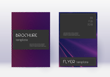 Black cover design template set. Violet abstract lines on dark background. Amusing cover design. Overwhelming catalog, poster, book template etc.