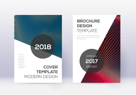 Modern cover design template set. Red abstract lines on white blue background. Fabulous cover design. Modern catalog, poster, book template etc.