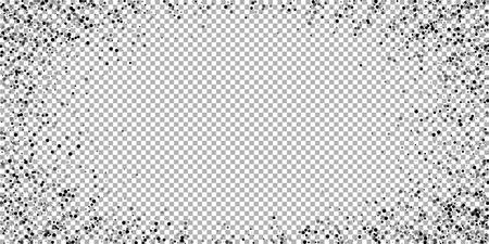 Scattered dense balck dots. Dark points dispersion on transparent background. Breathtaking grey spots dispersing overlay template. Pretty vector illustration.