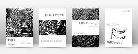 Cover page design template. Minimalistic brochure layout. Classic trendy abstract cover page. Black and white grunge texture background. Fascinating poster. Ilustração