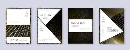 Stylish brochure design template set. Gold abstract lines on black background. Beauteous brochure design. Sublime catalog, poster, book template etc.