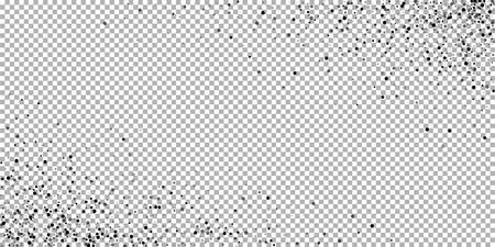 Scattered dense balck dots. Dark points dispersion on transparent background. Bold grey spots dispersing overlay template. Classy vector illustration. Ilustrace