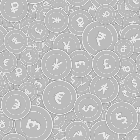 International currencies silver coins seamless pattern. Quaint scattered black and white Global coins. Success concept. World money pattern. Coin vector illustration.