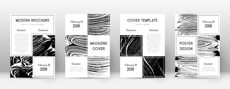 Cover page design template. Business brochure layout. Beautiful trendy abstract cover page. Black and white grunge texture background. Magnificent poster.