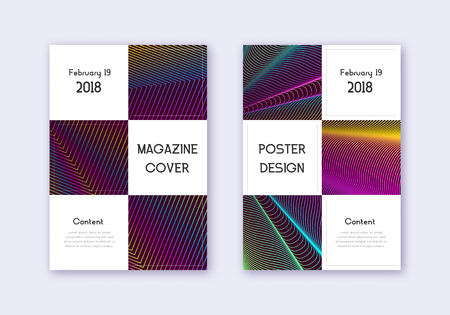 Business cover design template set. Rainbow abstract lines on wine red background. Beauteous cover design. Alive catalog, poster, book template etc.