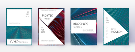 Stylish brochure design template set. Red abstract lines on white blue background. Bewitching brochure design. Excellent catalog, poster, book template etc.