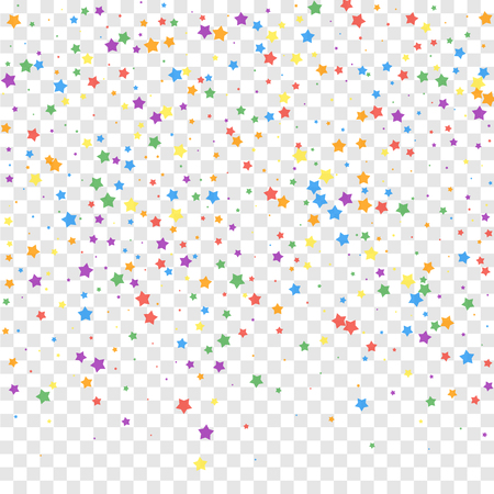 Festive confetti. Celebration stars. Joyous stars on transparent background. Classy festive overlay template. Breathtaking vector illustration.  イラスト・ベクター素材