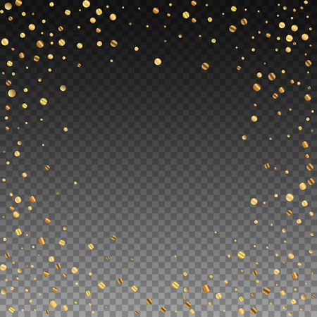 Sparse gold confetti luxury sparkling confetti. Scattered small gold particles on transparent background. Appealing festive overlay template. Powerful vector illustration. Иллюстрация