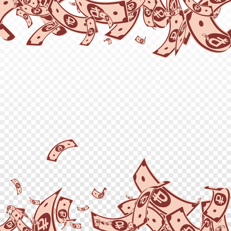Russian ruble notes falling. Messy RUB bills on transparent background. Russia money. Beautiful vector illustration. Worthy jackpot, wealth or success concept.