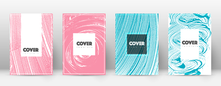 Cover page design template. Hipster brochure layout. Captivating trendy abstract cover page. Pink and blue grunge texture background. Bizarre poster.