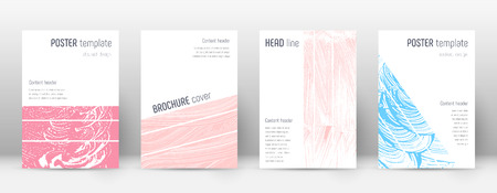 Cover page design template. Geometric brochure layout. Bold trendy abstract cover page. Pink and blue grunge texture background. Symmetrical poster. 向量圖像